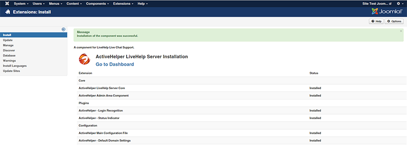 Joomla installation log